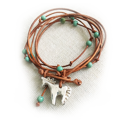 horse charm on wrap bracelet with turquoise beads