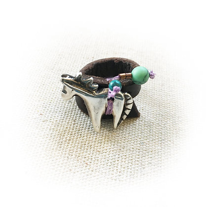horse ring make of silver with beads on leather