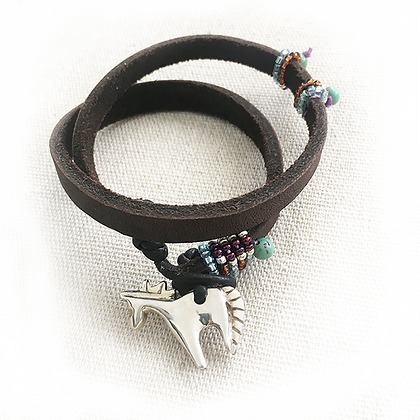 horse bracelet with hand carved silver charm on leather