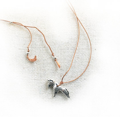 small silver horse on silk cord necklace