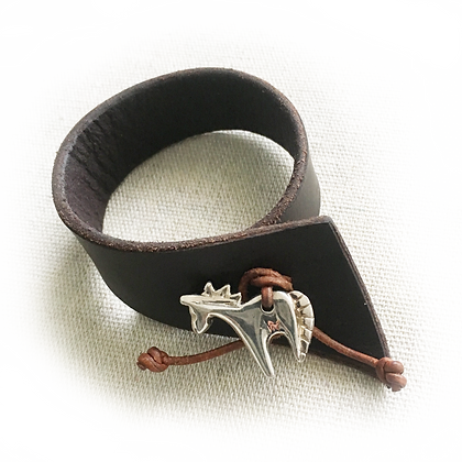 silver horse on leather bracelet