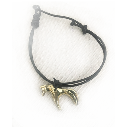 bronze horse on leather bracelet