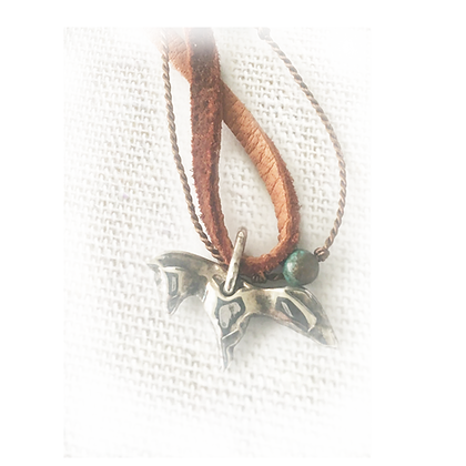 horse pendant on leather necklace