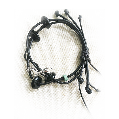 horse bracelet made of silver and leather