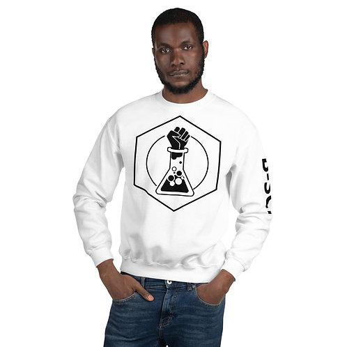 B-SCI White Unisex Sweatshirt w/ text on sleeve