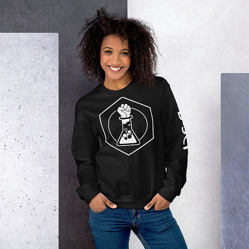 B-SCI Black Unisex Sweatshirt w/ text on sleeve
