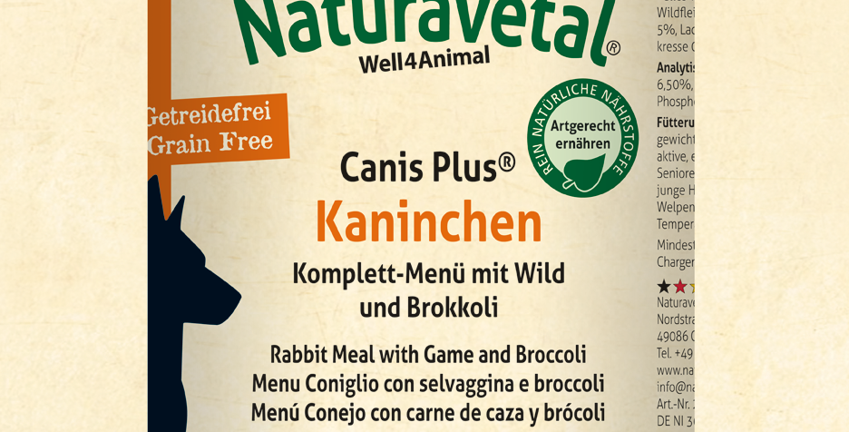 Canis Plus® Complete Meal - Rabbit meal with game and broccoli