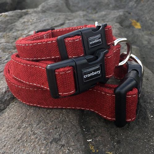 Cranbery - Hemp Collar Small (26cm-42cm) Mountain Red