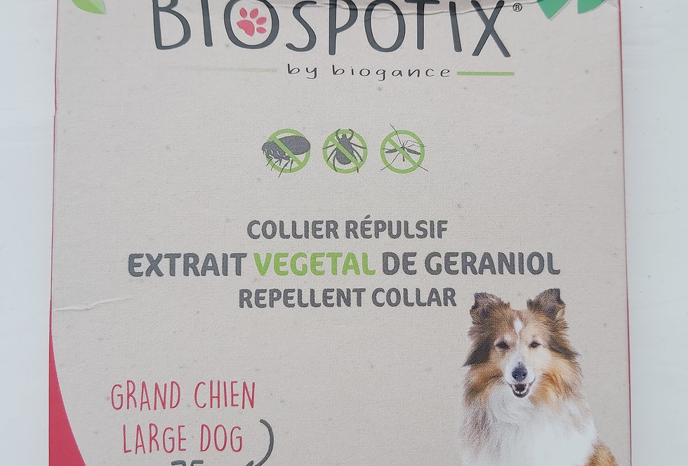 BIOSPOTIX NATURAL DOG FLEA REPELLENT COLLAR FOR LARGE BREED DOGS (MAX 75CM)