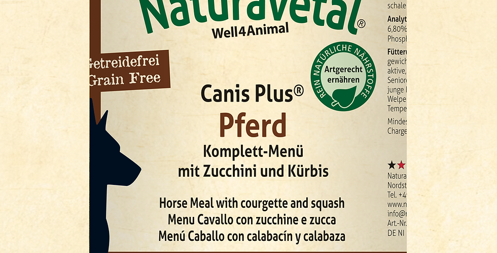 Canis Plus® Complete Horse Meal with zucchini and pumpkin