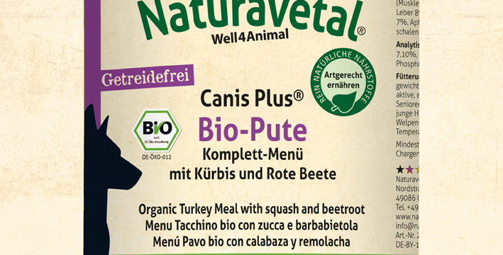 Canis Plus® Turkey Organic Complete Meal with Pumpkin and Beetroot