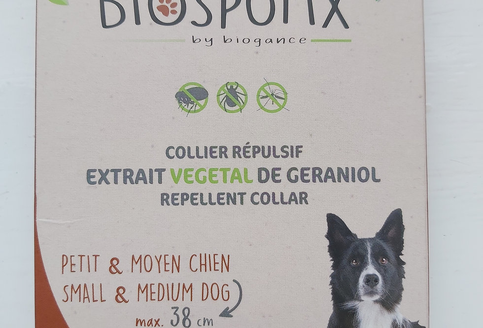 BIOSPOTIX NATURAL DOG FLEA REPELLENT COLLAR FOR SMALL TO MEDIUM DOGS (MAX 38CM)