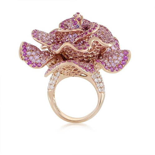Adler Pink Sapphire Diamond Rose Gold Flower Cocktail Ring