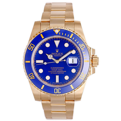 Rolex Yellow Gold Submariner Automatic Wristwatch Ref 116618