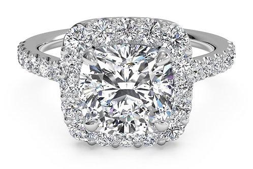 FRENCH-SET HALO DIAMOND BAND ENGAGEMENT RING