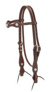 Weaver Western Headstall with Turqoisse