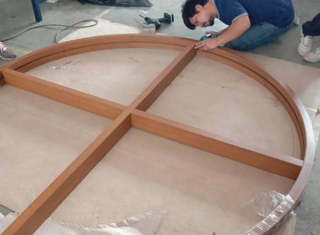 ผลงานหน้าต่างอลูมิเนียมวงกบดัดลายไม้