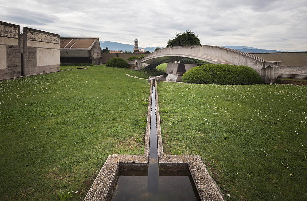 Water feature leading to the sarcophagus of the Brion family patriarch and his wife. Photo ©Darren Bradley