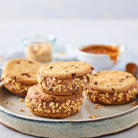 Choc Caramel Peanut Sandwiches