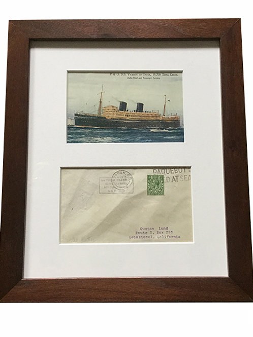 Vintage Ocean Liner Postcard and envelope framed