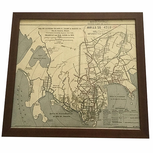 Framed Vintage Rio De Janiero Replica Map