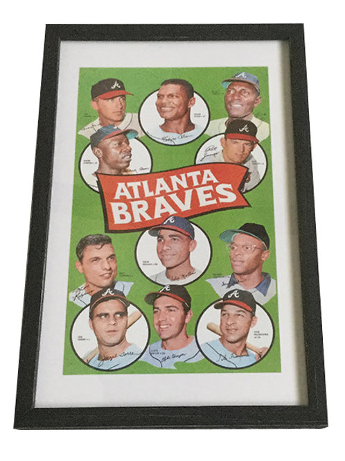 Framed Braves 1969 Topps Replica Team Poster
