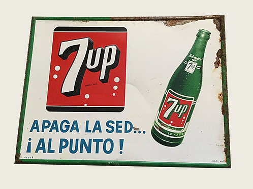 Vintage 7Up Spanish Metal Sign