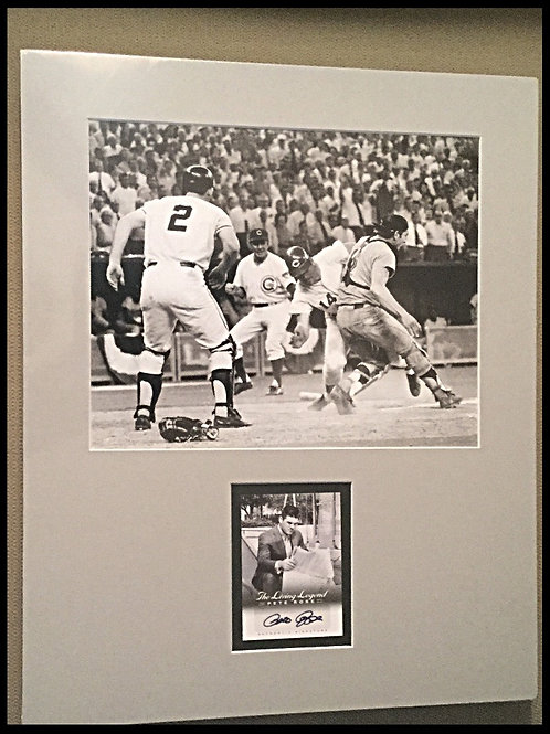 Pete Rose matted photo with autographed card