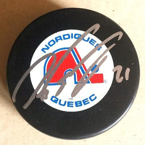 Peter Forsberg Signed Nordiques Puck
