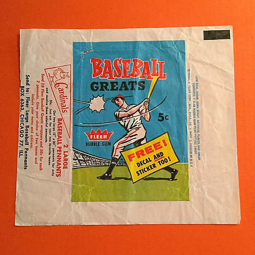 1961 Fleer Baseball Greats Wax Wrapper