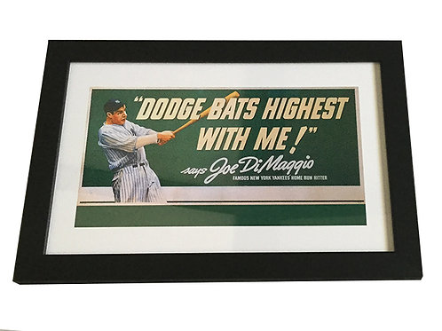 Joe DiMaggio Framed Dodge Ad