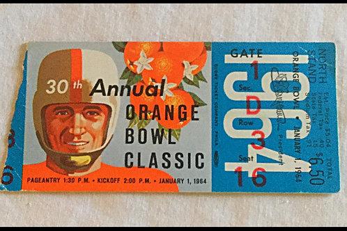 1964 Orange Bowl Ticket stub