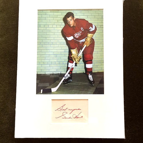 Gordie Howe Photo with Matted Signed 3x5