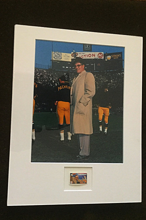 Vince Lombardi Photo with US Stamp