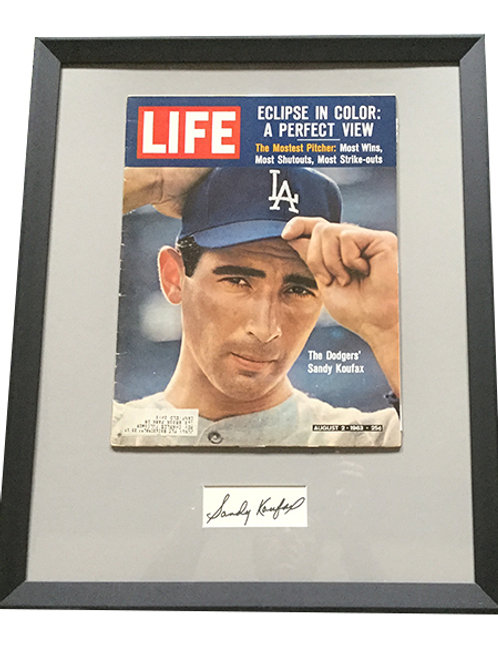 Sandy Koufax Life Magazine with matted autograph