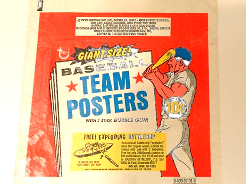 1969 Topps Team Poster Wrapper