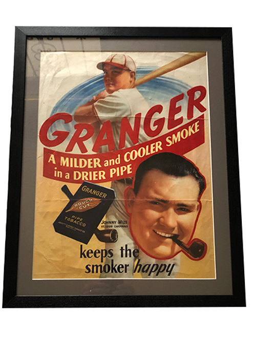 Framed Granger Tobacco Poster with Johnny Mize