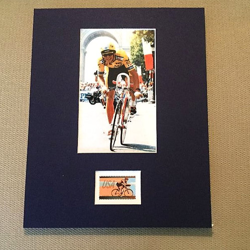Greg LeMond Matted Photo with Stamp