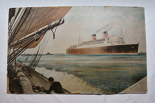 Framed RMS Mauretania vintage cardboard print