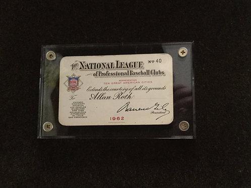 Allan Roth 1962 NL season pass