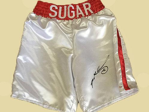 Sugar Ray Leonard signed boxing trunks