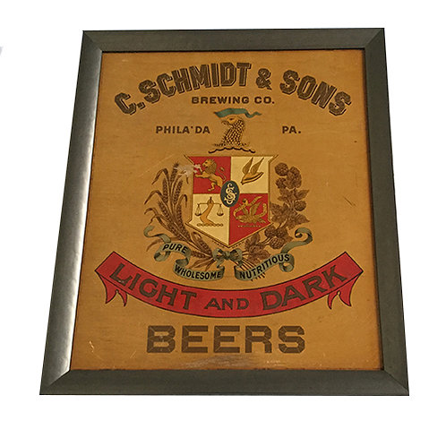 Vintage C Schmidt & Sons Framed Wooden Sign