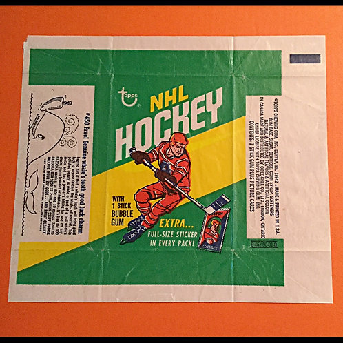 1970 Topps Hockey Wrapper