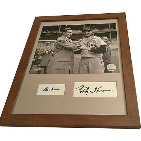 Signed Bobby Thompson and Ralph Branca in wood frame