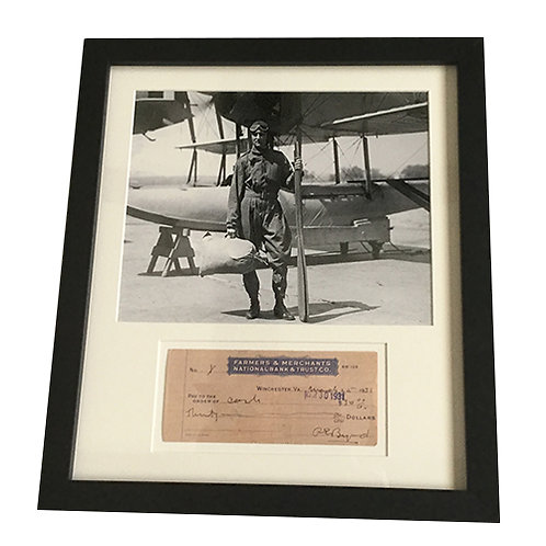 Admiral Byrd Framed Check and Photo