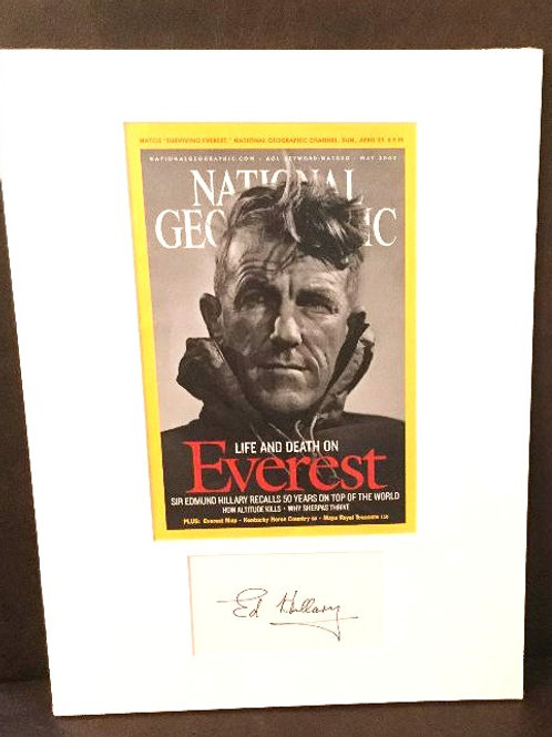 Sir Edmund Hillary Matted Signed Card with Cover