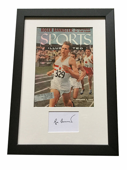 Roger Bannister Sports Illustrated with matted autograph