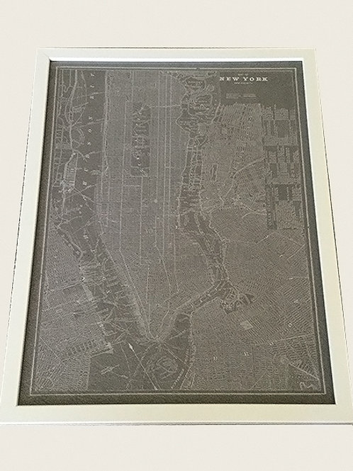 Vintage NYC Framed Map