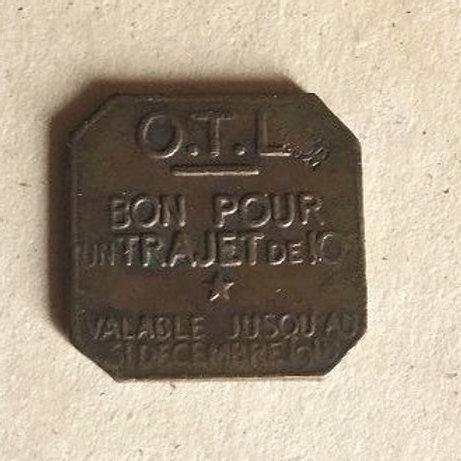 WW 1 French Train Fare Token