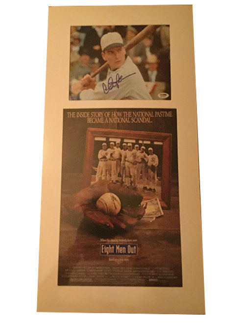 Charlie Sheen signed photo with Eight Men Out movie poster